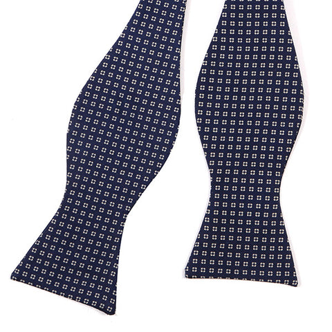 Navy Square Silk Self-tie Bow Tie