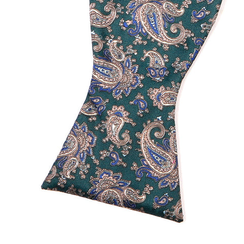 Green Paisley Polyester Self-tie Bow Tie