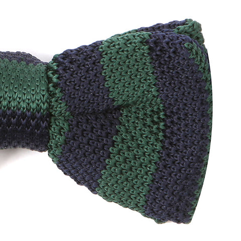 Navy and Green Knitted Bow Tie