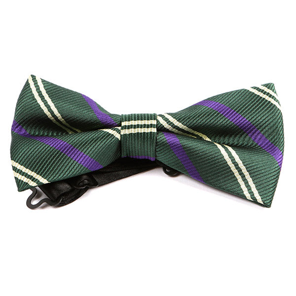 Green Trio Striped Bow Tie - Handmade Silk Wool And Knitted Ties by Tie Doctor