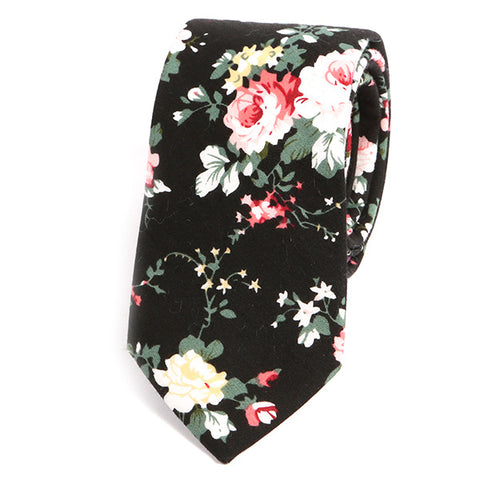 Black Floral Slim Tie - Handmade Silk Wool And Knitted Ties by Tie Doctor