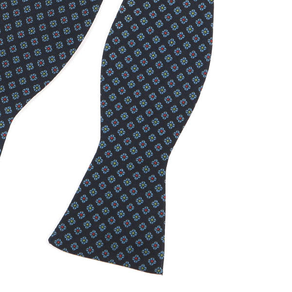 Navy Jewel Self-Tie Bow Tie - Handmade Silk Wool And Knitted Ties by Tie Doctor