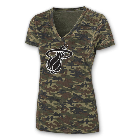 GIII Miami HEAT Camo V Neck Tee