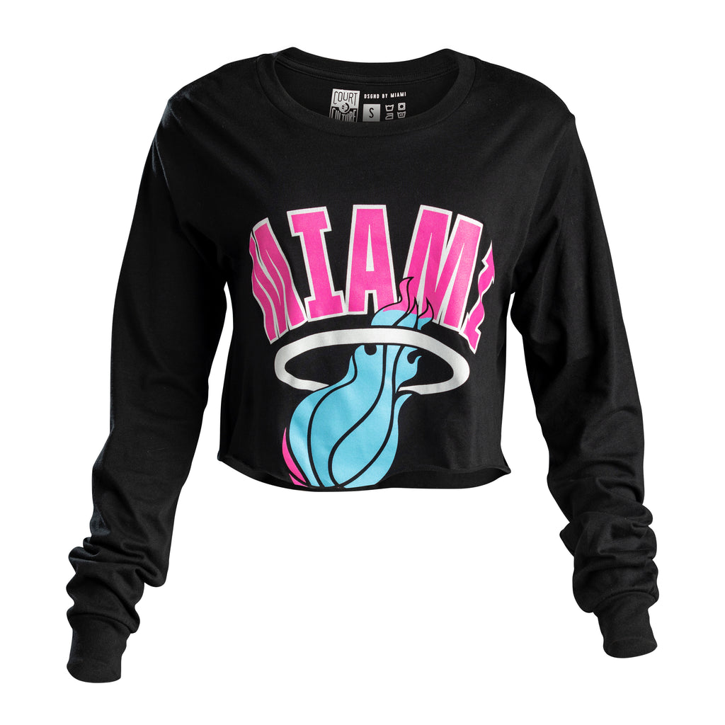 Court Culture Sunset Vice Vintage MIAMI Ladies Long Sleeve Crop Top - featured image