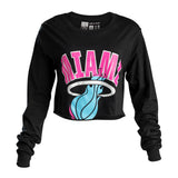 Court Culture Sunset Vice Vintage MIAMI Ladies Long Sleeve Crop Top - 1