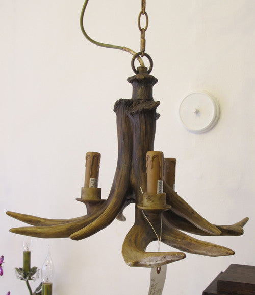 3 Arm Resin Stag Antler Chandelier