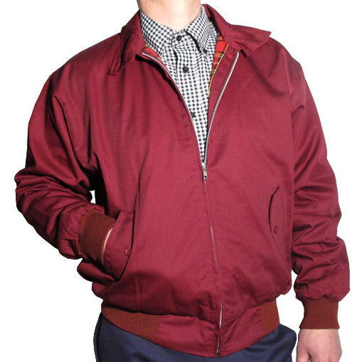 Mens Harrington Bomber Jacket Burgundy Red
