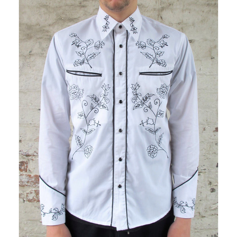 Mens Cowboy Shirt - White with Black Floral Embroidery