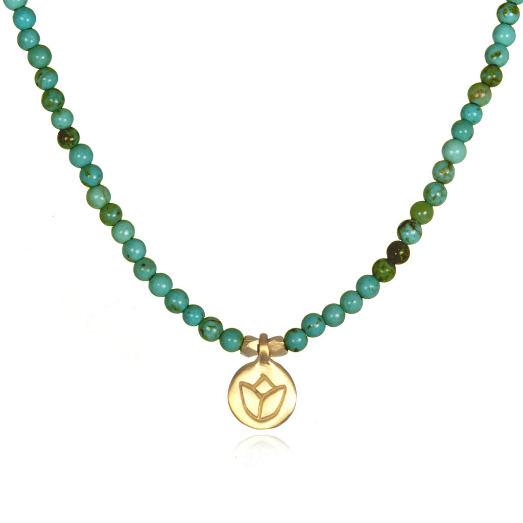 Gold Turquoise Lotus Necklace - Seashore - Satya Jewelry