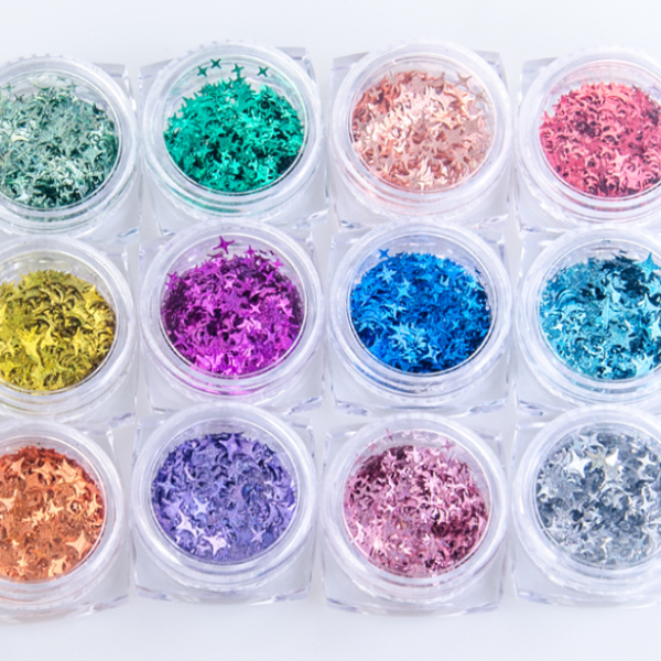 Star Shape - Nail Art glitter - 12 colors