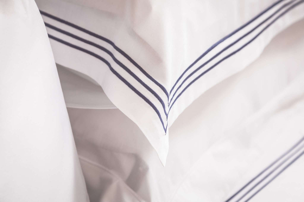 Navy 3 Row Embroidered Egyptian Cotton Square Pillowcase