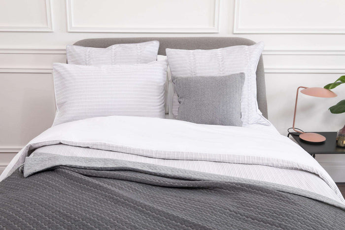 Silver Pleats Square Pillowcase - Single