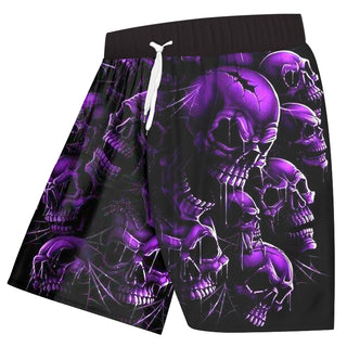 Shorts Men Quick Dry Polyester Cool Print Purple Broken Skull