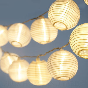 20 White Lanterns - Indoor Outdoor Mini Nylon LED String Lights Solar Powered Operated - MAGICNIGHT