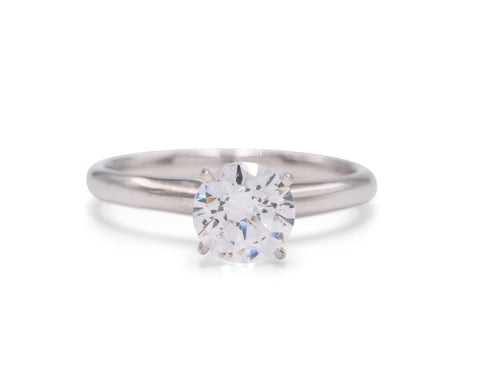 Silverscape Designs 18k white gold band with platinum prongs. Shown with 1 carat diamond.