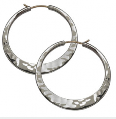 Ed Levin Sterling Silver Hammered Hoop Earrings