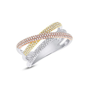 14KT Three Tone Gold Diamond Wire Ring