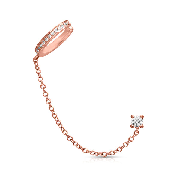 14KT Rose Gold Round Diamond Stud and Chain Ear Cuff