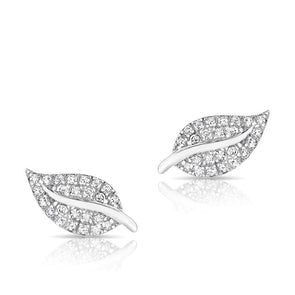 14KT White Gold Diamond Mini Tea Leaf Stud Earrings