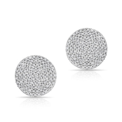 14KT White Gold Diamond Luxe Disc Stud Earrings