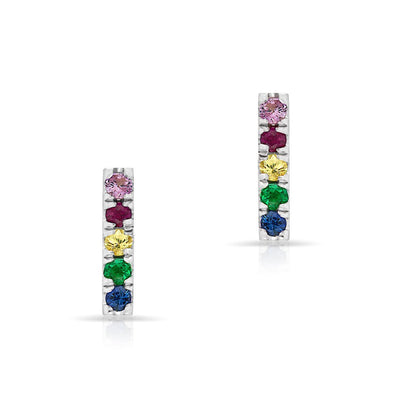 14KT White Gold Rainbow Bar Earrings