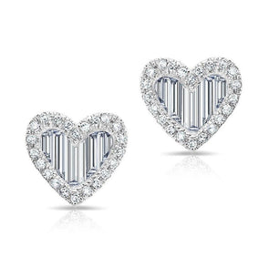 14KT White Gold Baguette Diamond Heart Stud Earrings