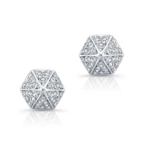 14KT White Gold Diamond Olympia Studs