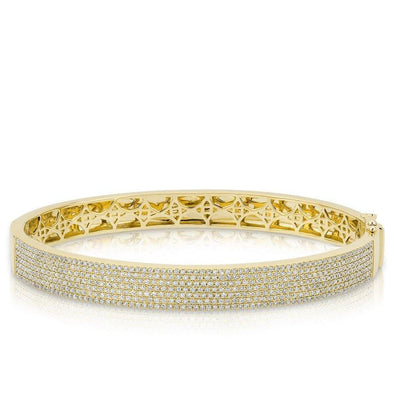 14KT Yellow Gold Diamond Belle Half Pave Bangle