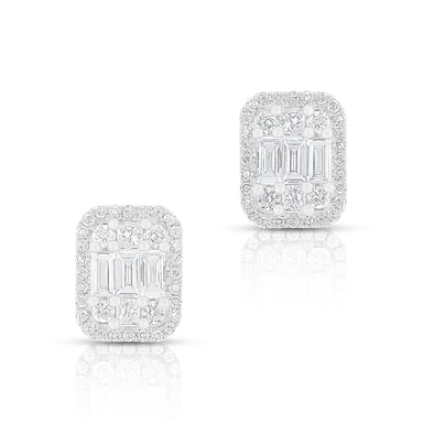 14KT White Gold Baguette Diamond Rectangle Ryleigh Stud Earrings