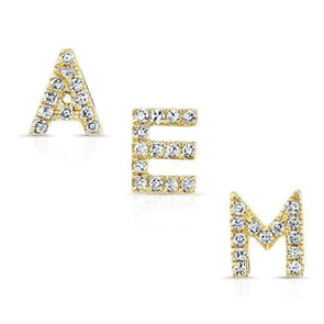 14KT Yellow Gold Diamond Alphabet Initial Stud Earring