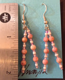Pink Stone Dangle Earrings