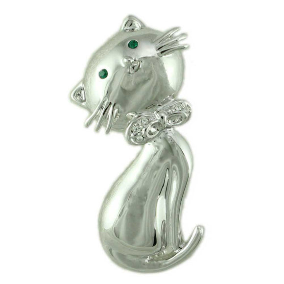 Silver-tone Big Head Cat with Green Crystal Eyes Brooch Pin - Lilylin Designs