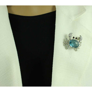 Model with Blue Stone Crab with Crystal Claws and Red Eyes Brooch Pin - Lilylin Designs