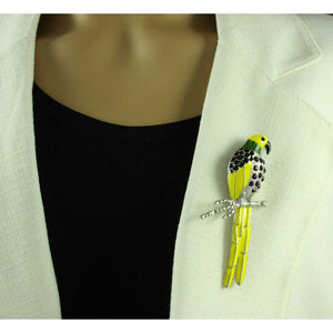 Model with Large Yellow Enamel and Purple Crystal Parrot Brooch Pin - Lilylin Designs