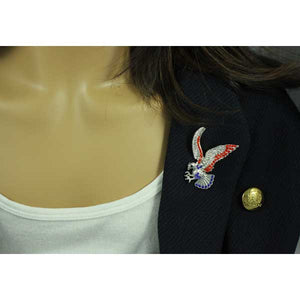 Model with Crystal Patriotic Red, White, and Blue Eagle Brooch Pin - Lilylin Designs