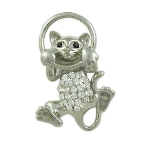 Silver-tone Clear Crystal Cat Peeping Through Hoop Brooch Pin - Lilylin Designs