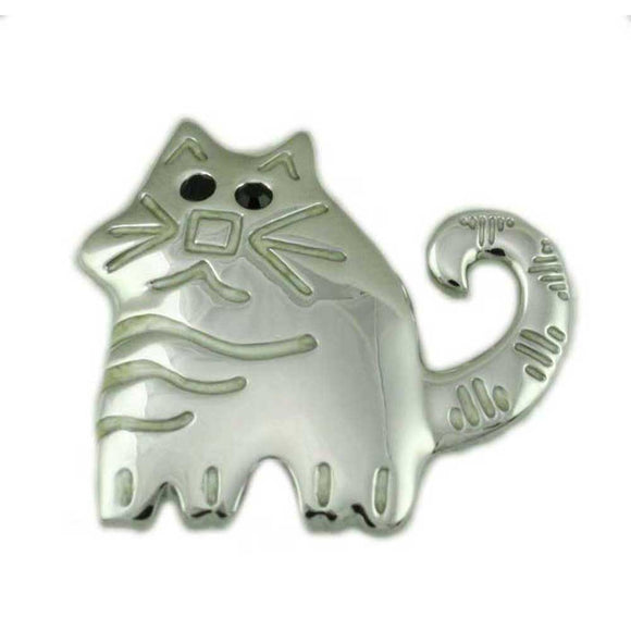 Silver-tone Etched Fat Cat with Black Crystal Eyes Brooch Pin - Lilylin Designs