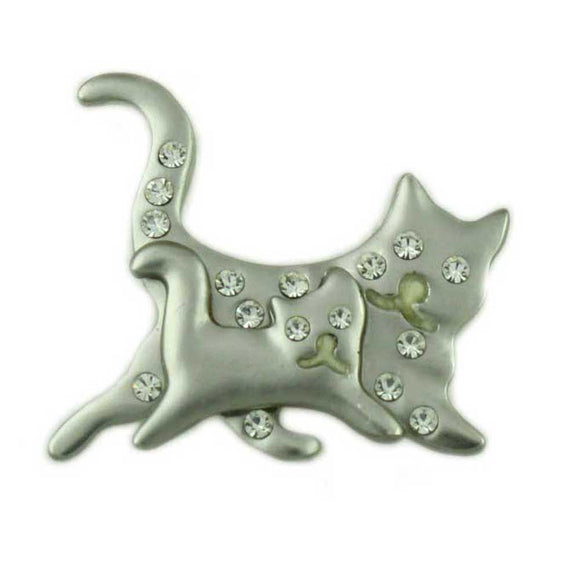 Matte Silver-tone Mom and Baby Running Crystal Cats Brooch Pin - Lilylin Designs