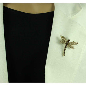 Model with Light and Dark Brown Topaz Crystal Dragonfly Brooch Pin - Lilylin Designs