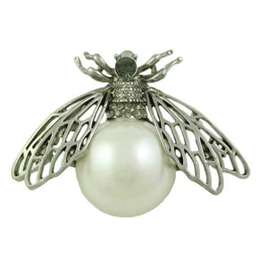 Fly with Filigree Silver Wings and Large White Pearl Brooch Pin - Lilylin Designs