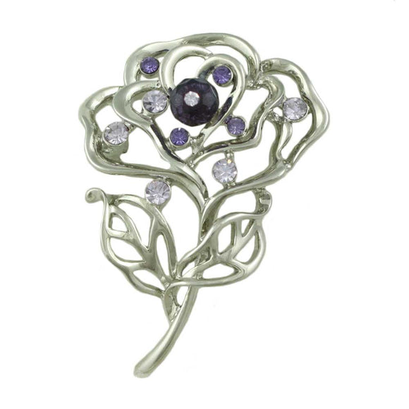 Silver-tone Open Rose with Purple Bead Flower Brooch Pin - Lilylin Designs