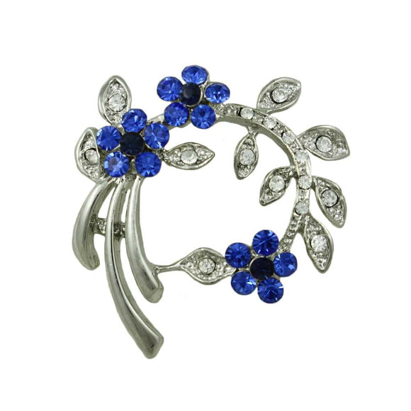Arch of Cobalt Blue Crystal Daisies and Leaves Flower Brooch Pin - Lilylin Designs