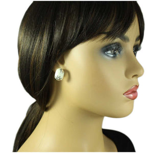 Model with Cream Enamel with Silver Flowers Pierced or Clip Earring - Lilylin Designs