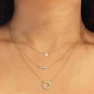 Baguette and Round Diamond Bar Necklace White Gold