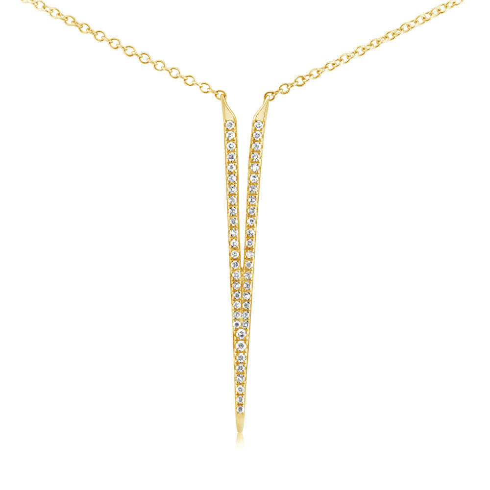 Diamond Dagger Necklace Yellow Gold