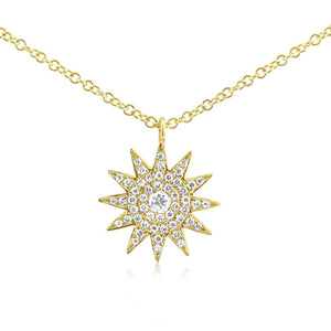 Diamond Starburst Necklace Yellow Gold