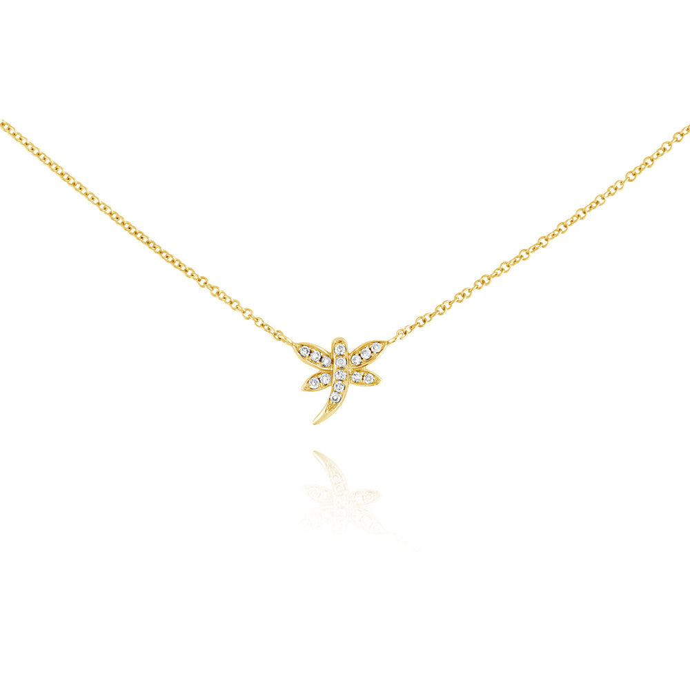 Diamond Dragonfly Necklace Yellow Gold