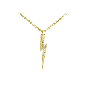 Diamond Lightning Bolt Necklace Yellow Gold