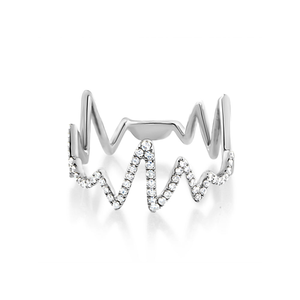 Diamond Heartbeat Ring White Gold