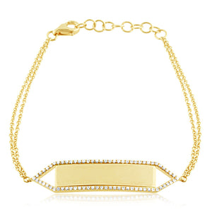 Diamond ID Bracelet Yellow Gold